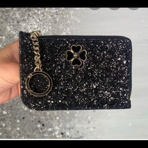 Kate Spade Odette Glitter MD Zip Card Holder black